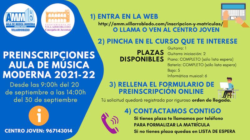 Preinscripciones Aula de Música Moderna 2021-2022